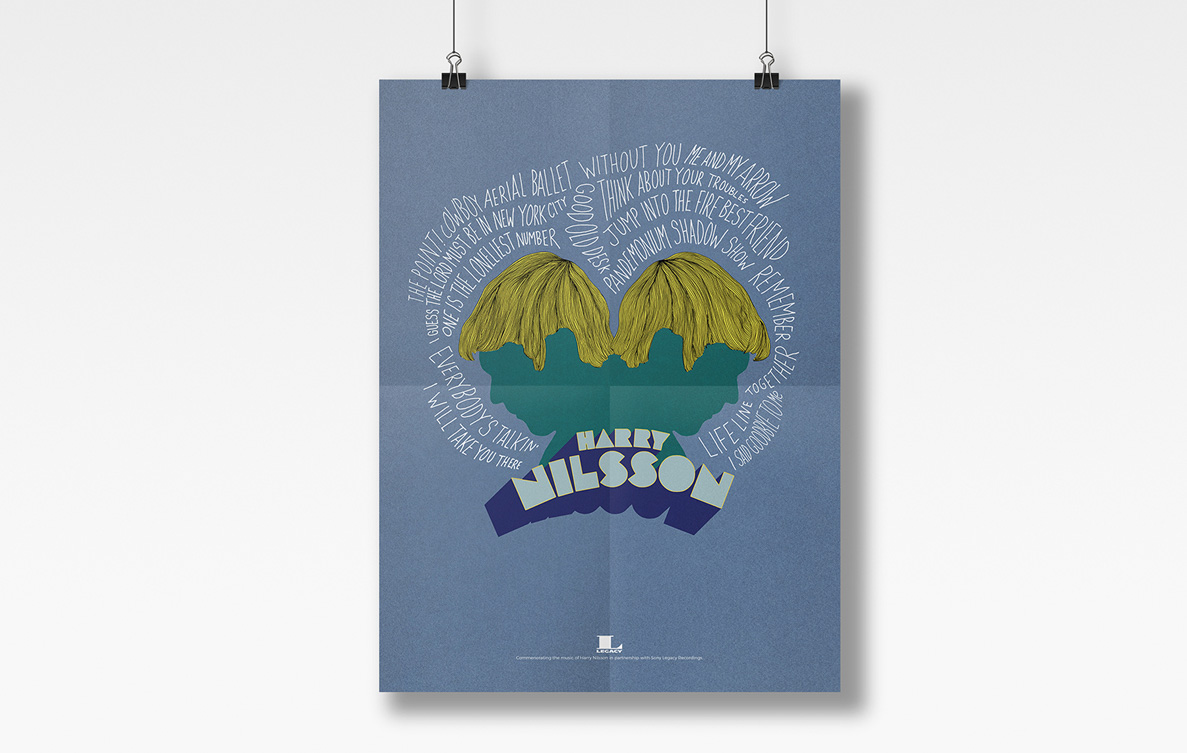 Harry Nilsson Commemorative Anniverasy Poster by Kristian Goddard for Sony Legacy Recordings