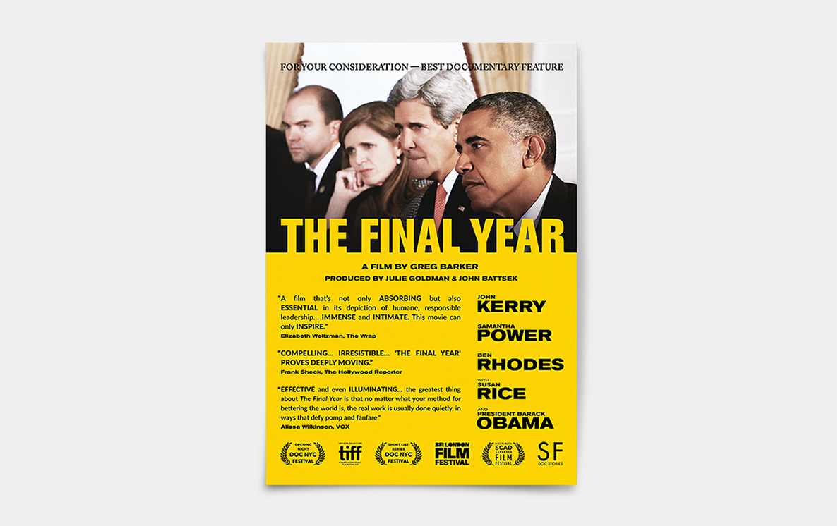 The Final Year Print Advertising Design by Kristian Goddard for Magnolia Pictures HBO